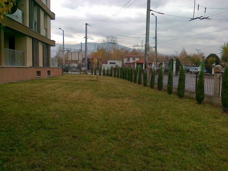 Благоустройство на зелена площ с поливна система